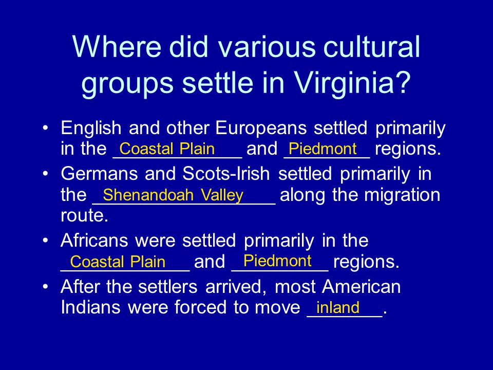 Where did various cultural groups settle in Virginia.