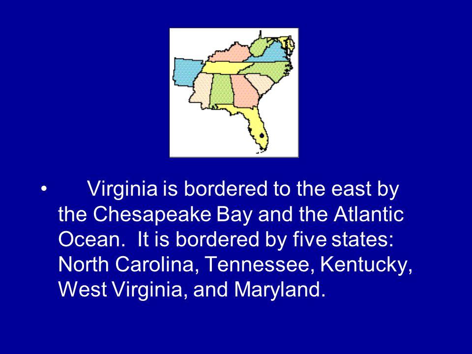 Describe the relative location of Virginia. Virginia