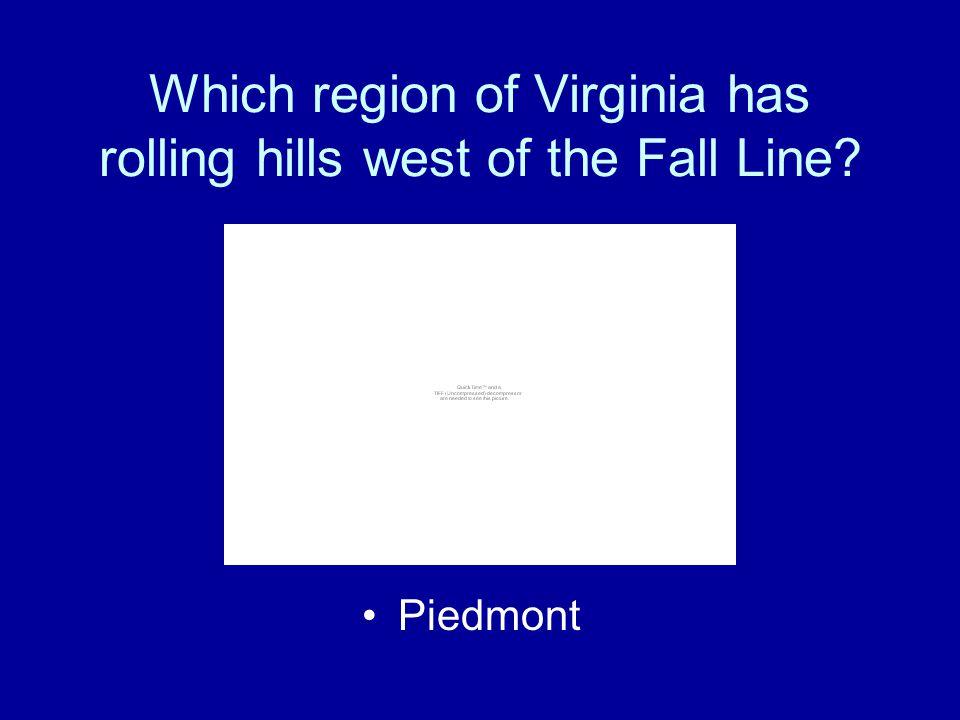 The five geographic regions of Virginia are: –Coastal Plain (Tidewater) –Piedmont –Blue Ridge Mountains –Valley and Ridge –Appalachian Plateau