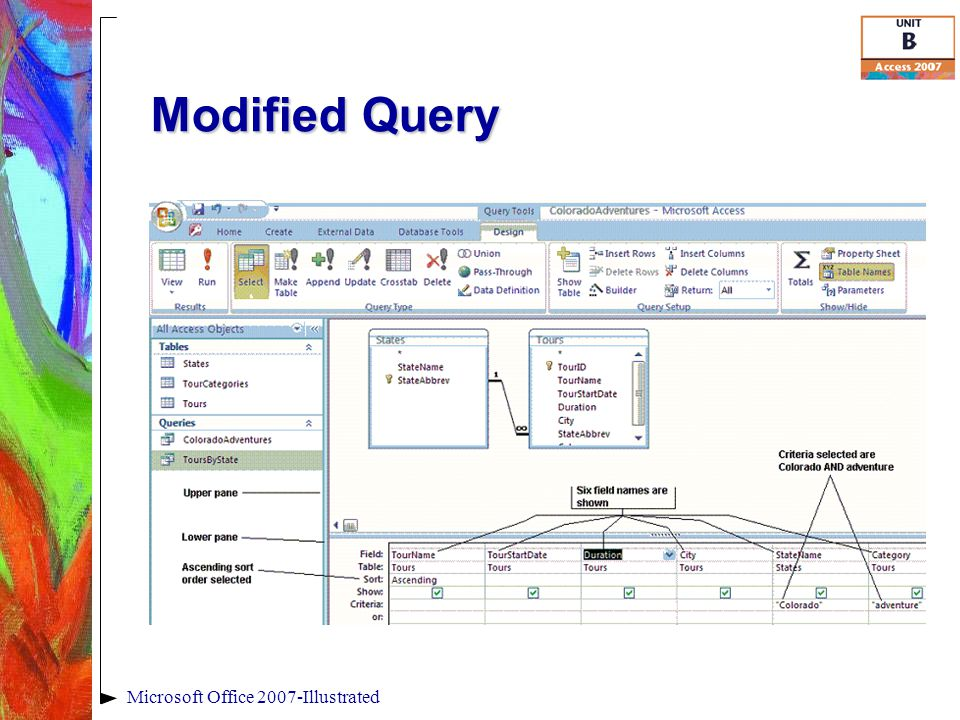 Modified Query Microsoft Office 2007-Illustrated