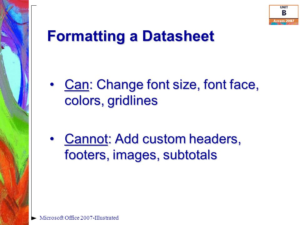 Formatting a Datasheet Microsoft Office 2007-Illustrated Can: Change font size, font face, colors, gridlinesCan: Change font size, font face, colors,