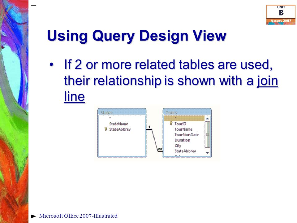 Using Query Design View Microsoft Office 2007-Illustrated If 2 or more related tables are used, their relationship is shown with a join lineIf 2 or more related tables are used, their relationship is shown with a join line