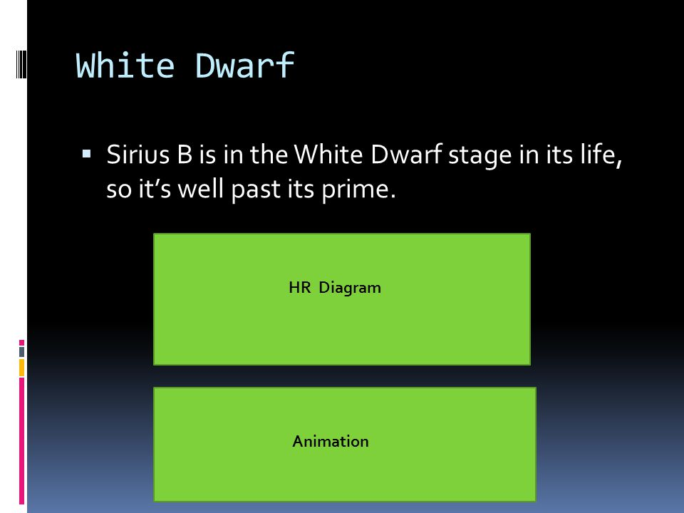 White Dwarf  Sirius B is in the White Dwarf stage in its life, so it's well past its prime.