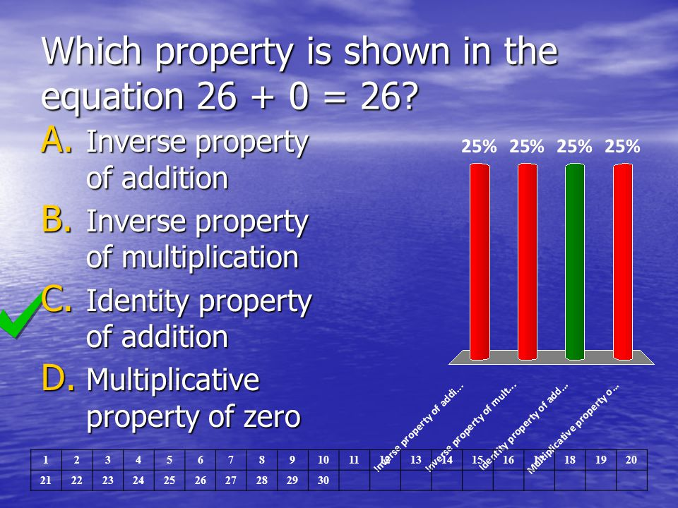 Which property is shown in the equation 26 + 0 = 26? A. Inverse property of addition B. Inverse property of multiplication C. Identity property of add