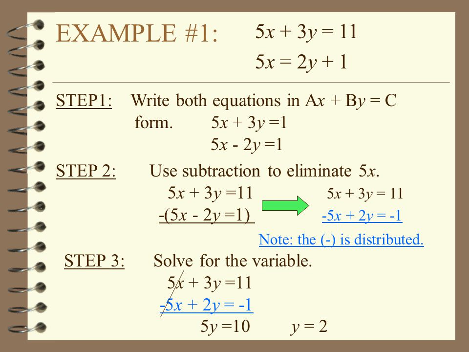 EXAMPLE #1: STEP 2:Use subtraction to eliminate 5x. 5x + 3y =11 5x + 3y = 11 -(5x - 2y =1) -5x + 2y = -1 5x + 3y = 11 5x = 2y + 1 Note: the (-) is dis