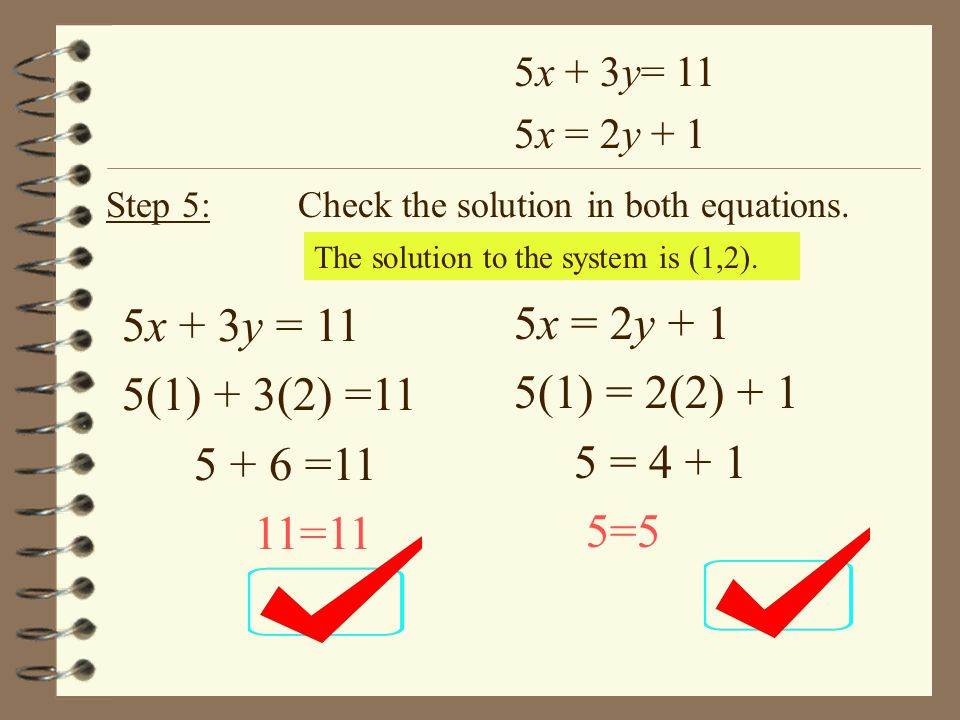 Solving Systems of Equations using Elimination Steps: 1.