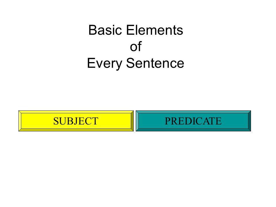 Basic Elements of Every Sentence SUBJECTPREDICATE