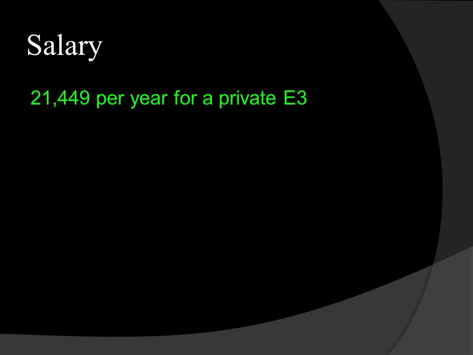 Salary 21,449 per year for a private E3