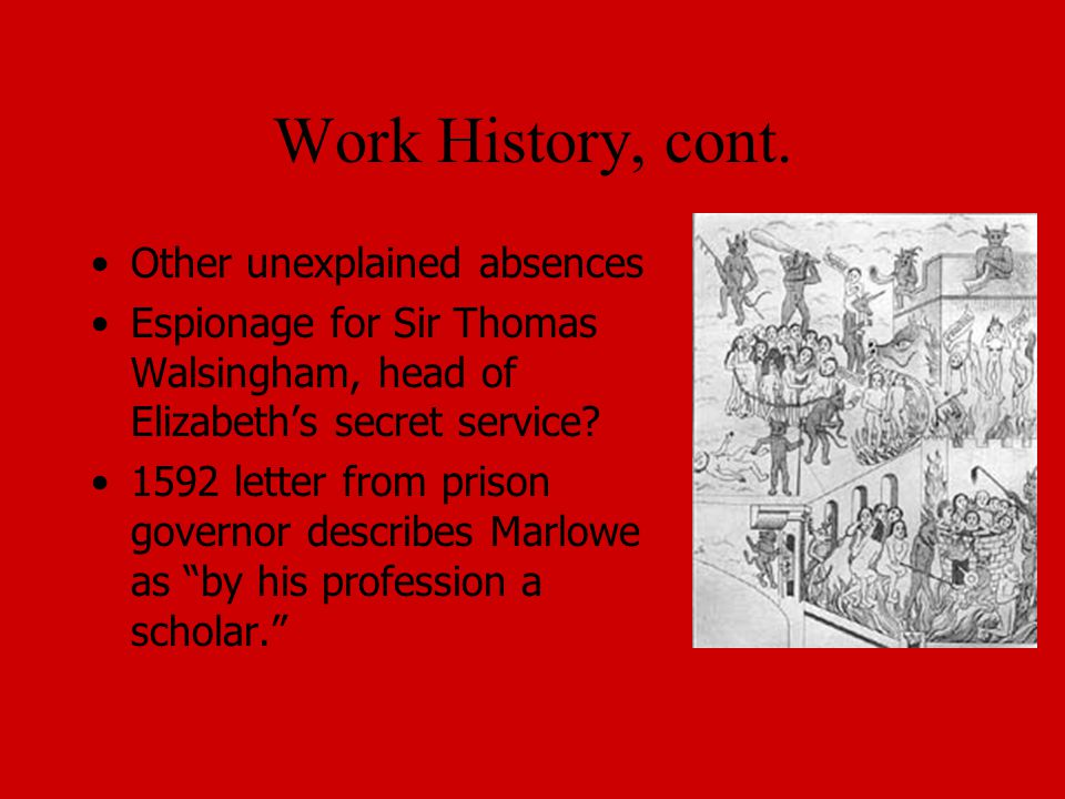 Work History, cont. Other unexplained absences Espionage for Sir Thomas Walsingham, head of Elizabeth's secret service? 1592 letter from prison govern