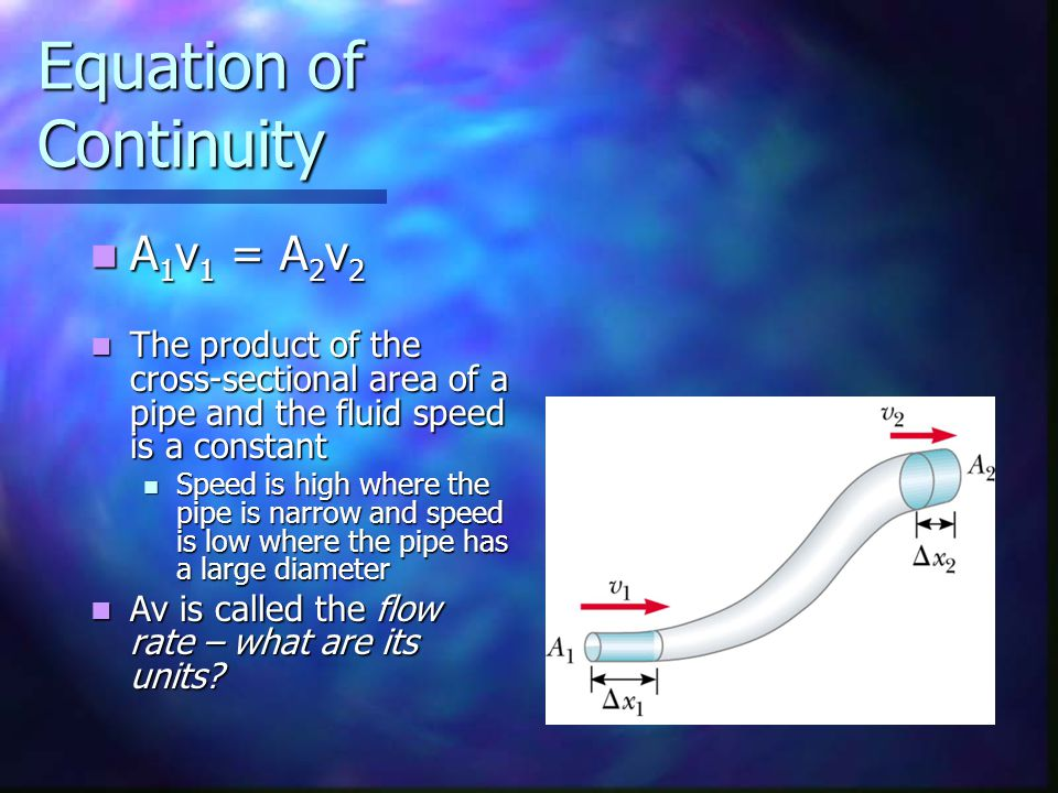 Equation of Continuity A 1 v 1 = A 2 v 2 A 1 v 1 = A 2 v 2 The product of the cross-sectional area of a pipe and the fluid speed is a constant The pro