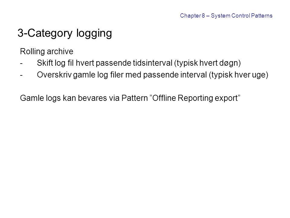 Chapter 8 – System Control Patterns 3-Category logging Rolling archive -Skift log fil hvert passende tidsinterval (typisk hvert døgn) -Overskriv gamle
