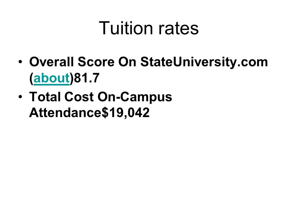 Tuition rates Overall Score On StateUniversity.com (about)81.7about Total Cost On-Campus Attendance$19,042