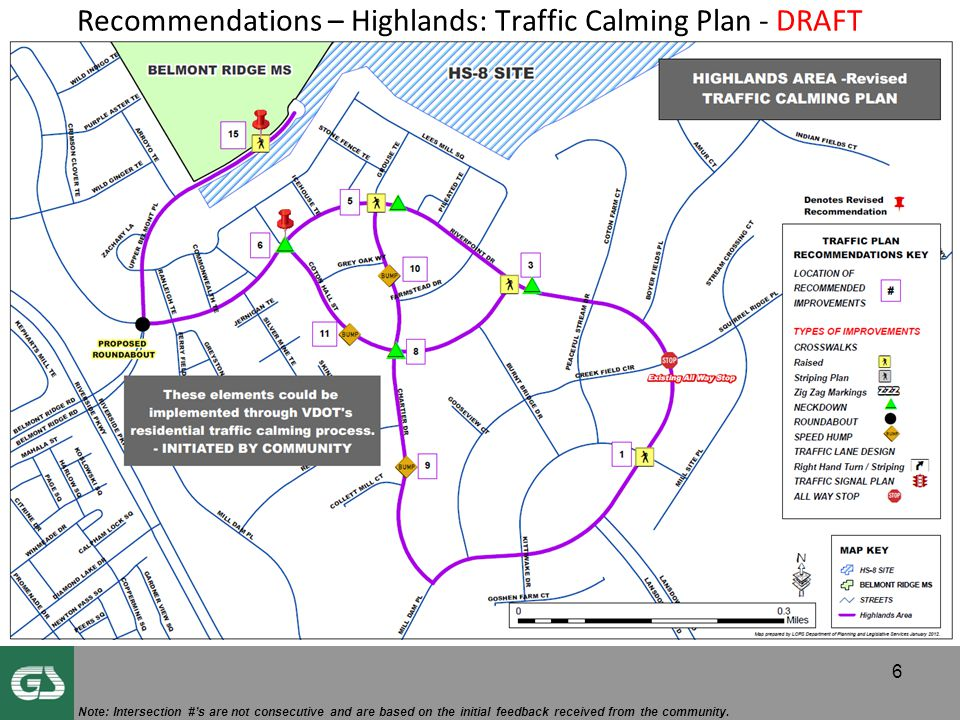 Recommendations – Highlands: Traffic Calming Plan - DRAFT 6 Note: Intersection #'s are not consecutive and are based on the initial feedback received from the community.