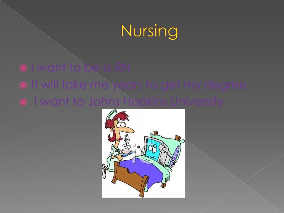  I want to be a RN  It will take me years to get my degree  I want to Johns Hopkins University