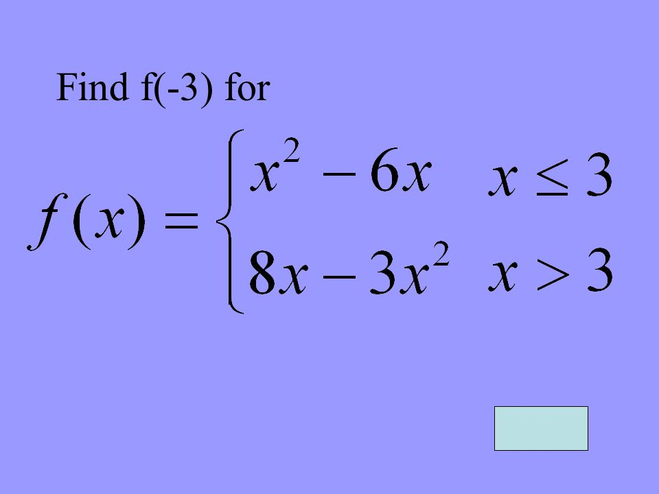 Find f(-3) for