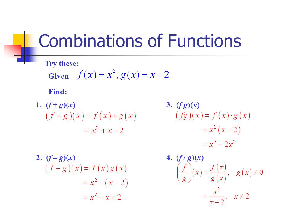 Combinations of Functions Given Find: Try these: 1. (f + g)(x) 2. (f – g)(x) 3. (f g)(x) 4. (f / g)(x)