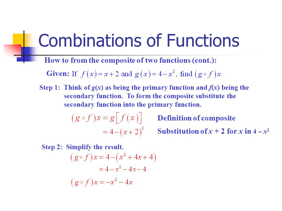 Combinations of Functions How to from the composite of two functions (cont.): Given: Step 1: Think of g(x) as being the primary function and f(x) bein