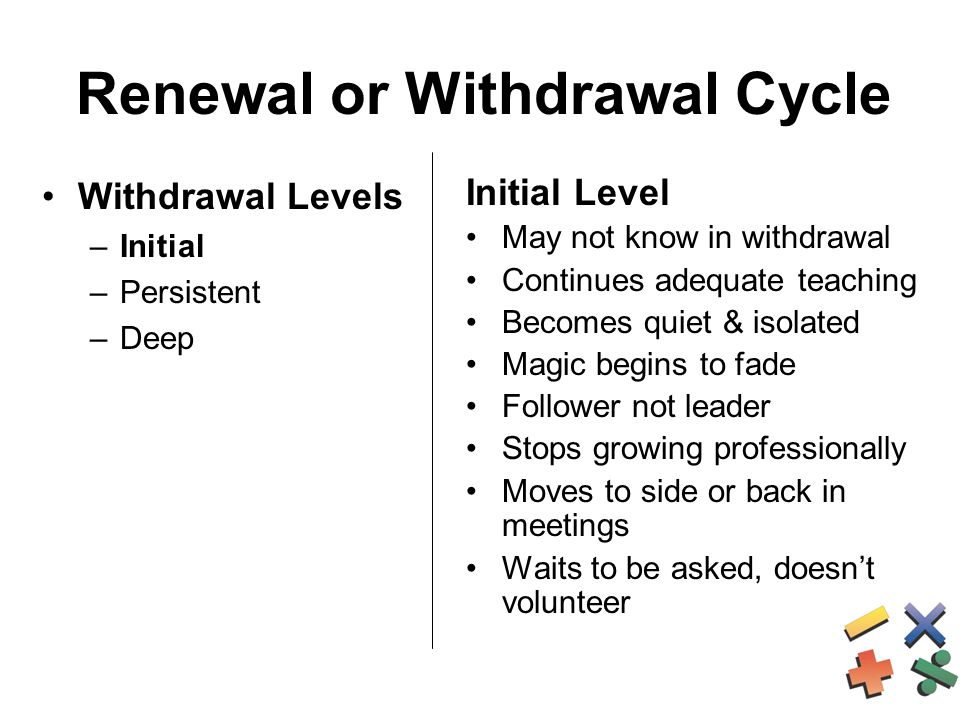 Renewal or Withdrawal Cycle Withdrawal Levels –Initial –Persistent –Deep Initial Level May not know in withdrawal Continues adequate teaching Becomes quiet & isolated Magic begins to fade Follower not leader Stops growing professionally Moves to side or back in meetings Waits to be asked, doesn't volunteer