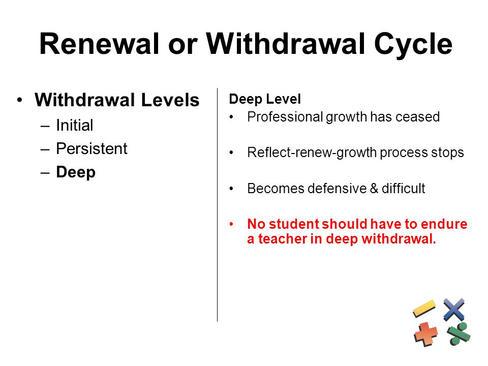 Renewal or Withdrawal Cycle Withdrawal Levels –Initial –Persistent –Deep Deep Level Professional growth has ceased Reflect-renew-growth process stops