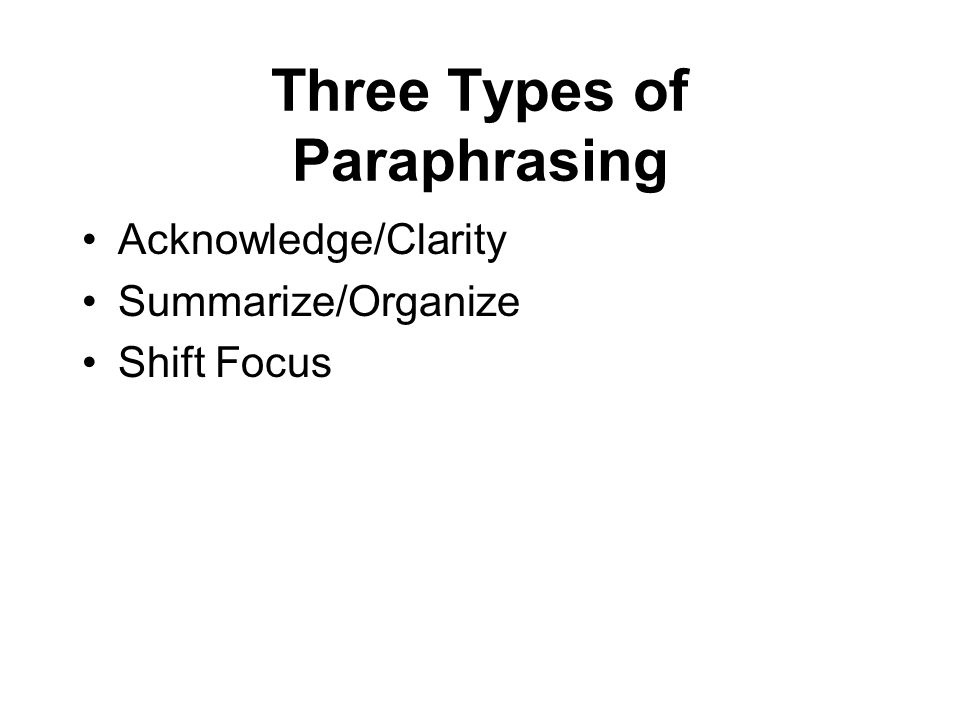 Three Types of Paraphrasing Acknowledge/Clarity Summarize/Organize Shift Focus
