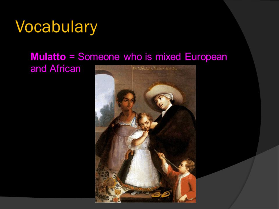 Vocabulary Mulatto = Someone who is mixed European and African