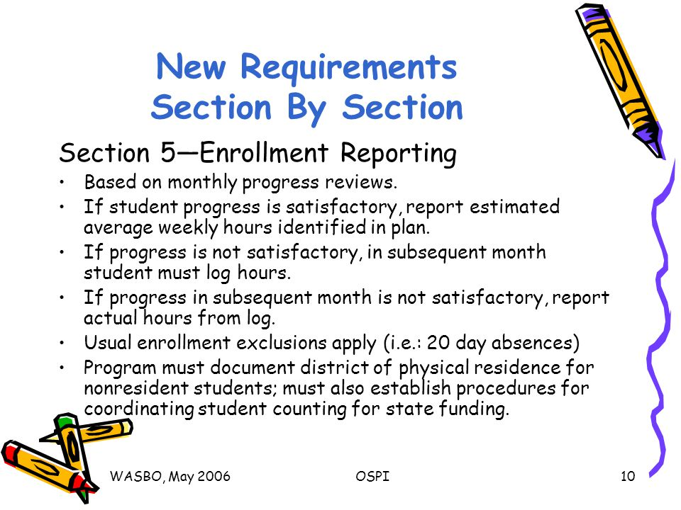 WASBO, May 2006OSPI10 New Requirements Section By Section Section 5—Enrollment Reporting Based on monthly progress reviews.