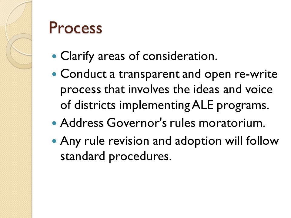 Process Clarify areas of consideration.