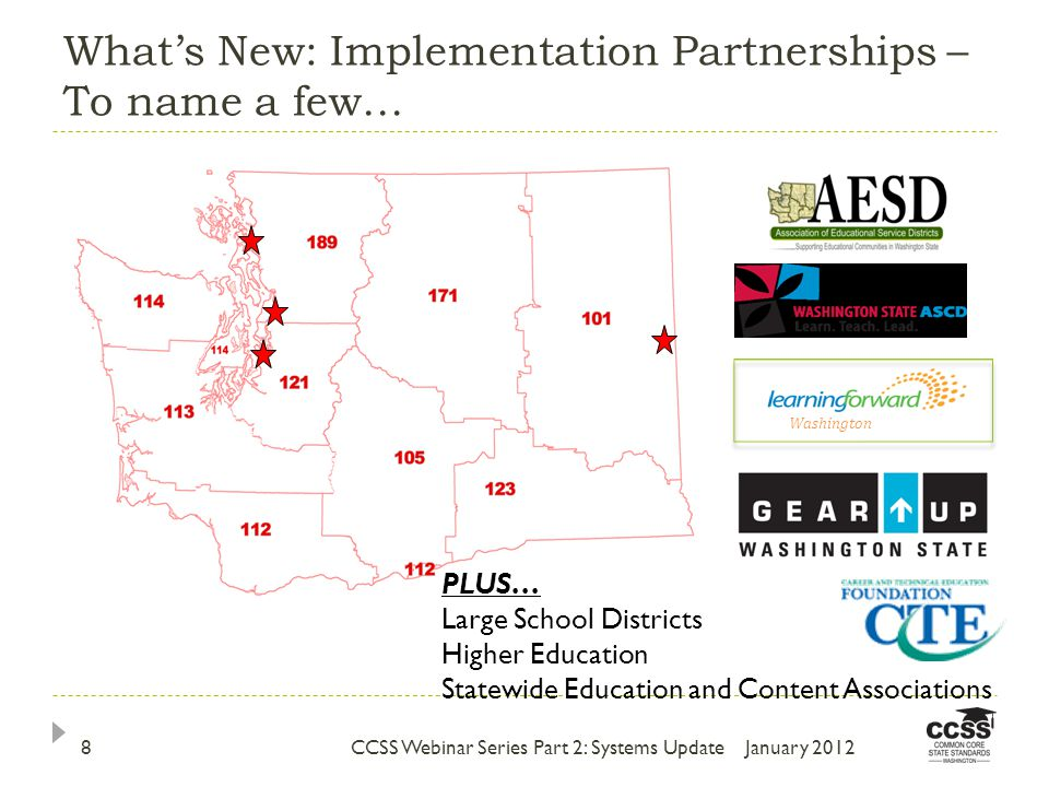 What's New: Implementation Partnerships – To name a few… January 2012CCSS Webinar Series Part 2: Systems Update8 PLUS… Large School Districts Higher Education Statewide Education and Content Associations Washington