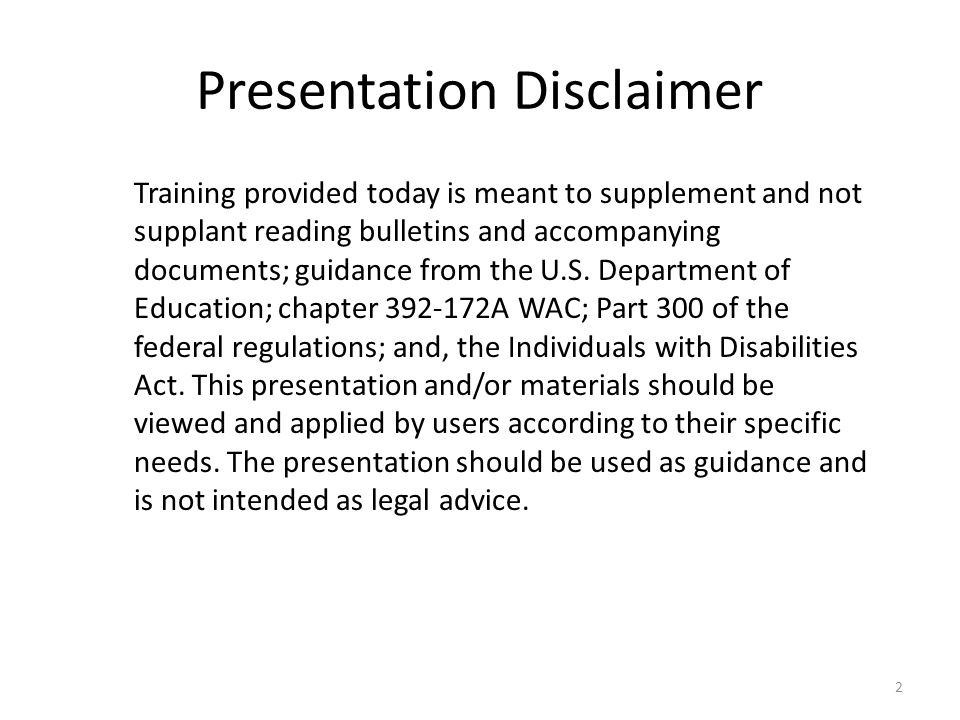 Presentation Disclaimer Training provided today is meant to supplement and not supplant reading bulletins and accompanying documents; guidance from the U.S.