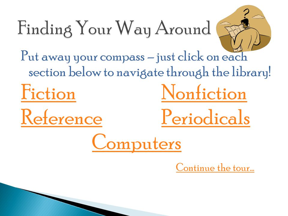 Put away your compass – just click on each section below to navigate through the library.