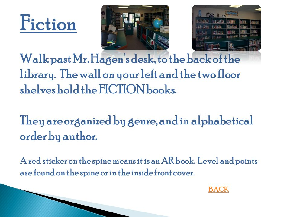Fiction Walk past Mr.Hagen's desk, to the back of the library.