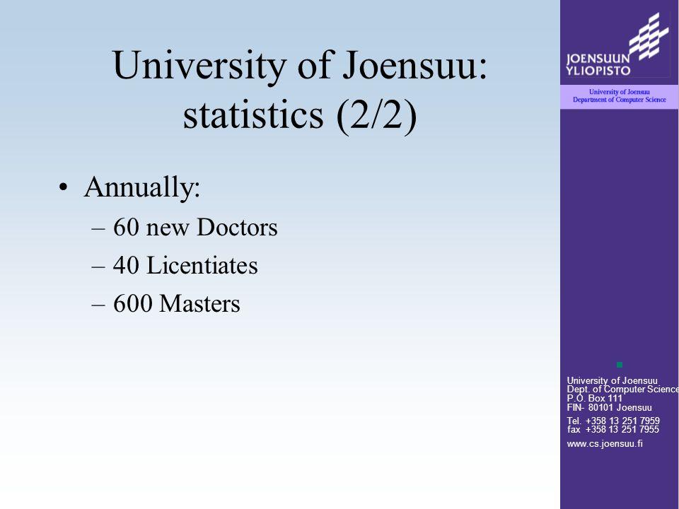 University of Joensuu Dept. of Computer Science P.O. Box 111 FIN- 80101 Joensuu Tel. +358 13 251 7959 fax +358 13 251 7955 www.cs.joensuu.fi Universit