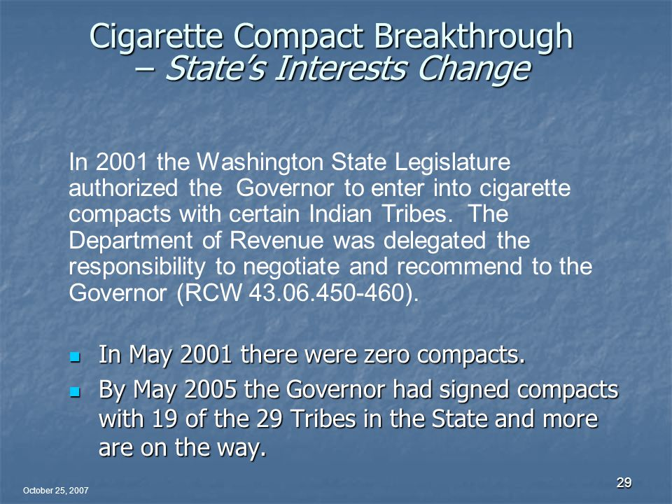 October 25, 2007 29 Cigarette Compact Breakthrough – State's Interests Change In May 2001 there were zero compacts.