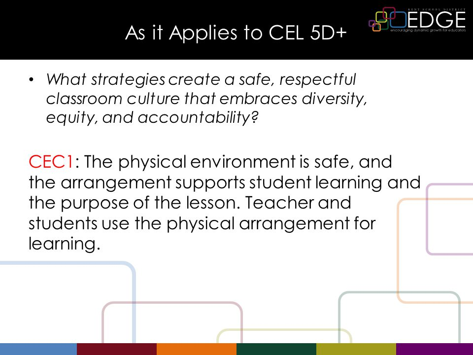 As it Applies to CEL 5D+ What strategies create a safe, respectful classroom culture that embraces diversity, equity, and accountability.