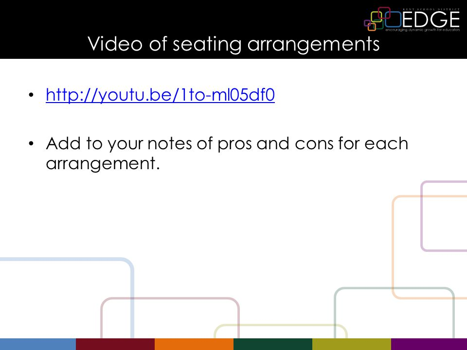 Video of seating arrangements   Add to your notes of pros and cons for each arrangement.