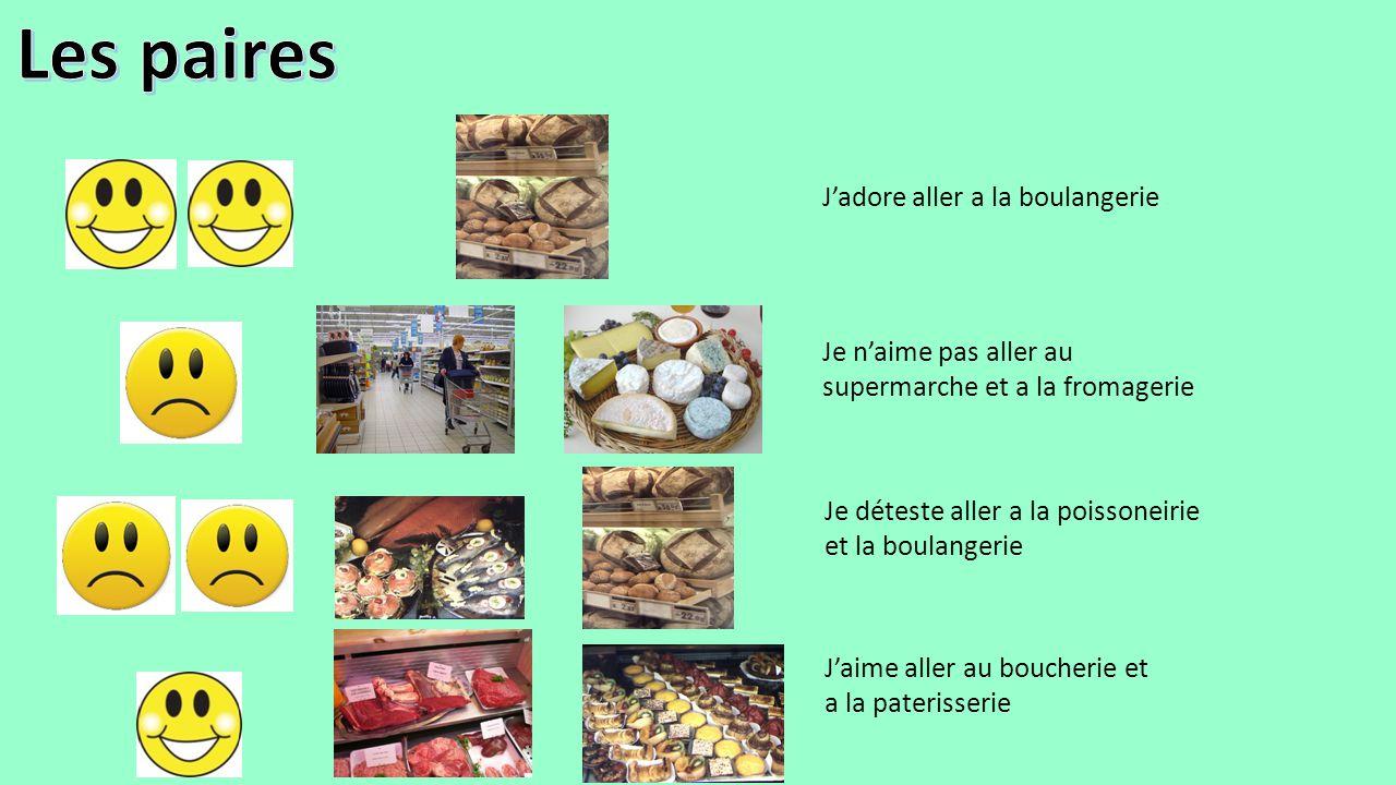 J'adore aller a la boulangerie Je n'aime pas aller au supermarche et a la fromagerie Je déteste aller a la poissoneirie et la boulangerie J'aime aller
