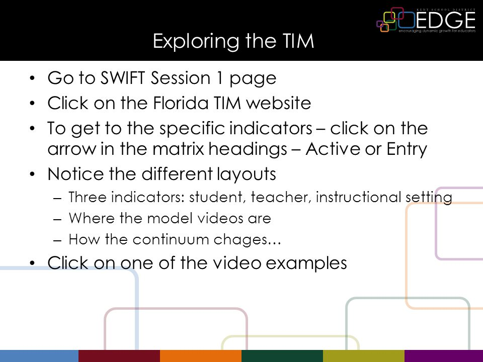 Exploring the TIM Go to SWIFT Session 1 page Click on the Florida TIM website To get to the specific indicators – click on the arrow in the matrix headings – Active or Entry Notice the different layouts – Three indicators: student, teacher, instructional setting – Where the model videos are – How the continuum chages… Click on one of the video examples