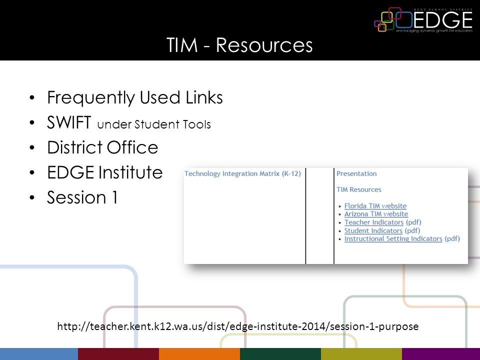 TIM - Resources Frequently Used Links SWIFT under Student Tools District Office EDGE Institute Session 1 http://teacher.kent.k12.wa.us/dist/edge-institute-2014/session-1-purpose