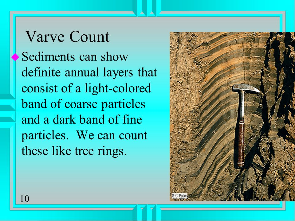 10 Varve Count u Sediments can show definite annual layers that consist of a light-colored band of coarse particles and a dark band of fine particles.