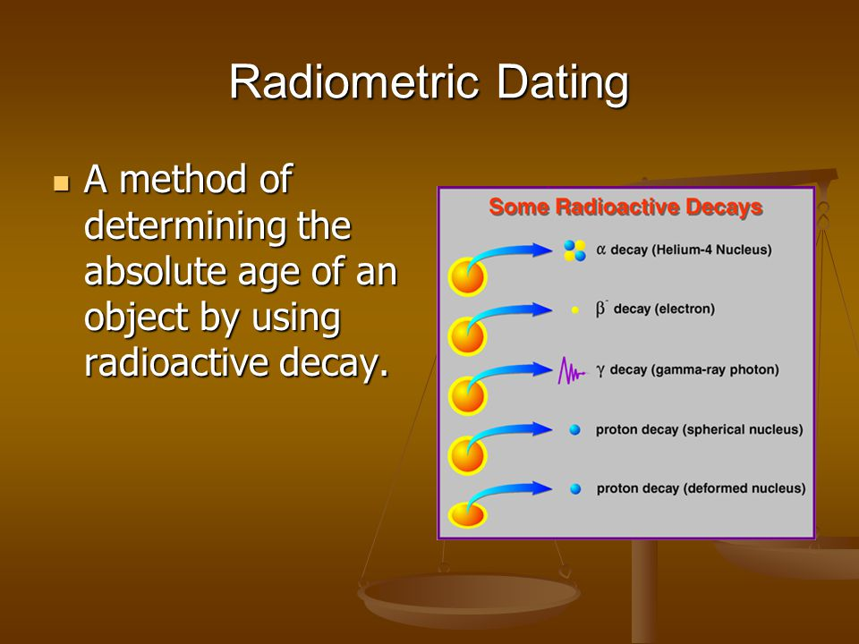 Radiometric Dating A method of determining the absolute age of an object by using radioactive decay. A method of determining the absolute age of an ob