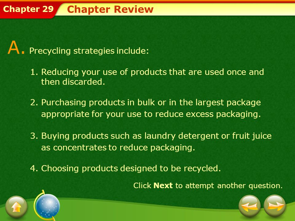 Chapter 29 Chapter Review Click Next to attempt another question.