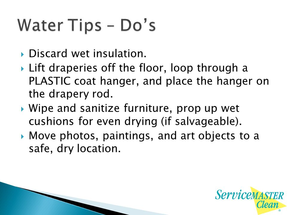  Discard wet insulation.