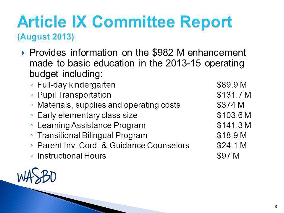  Provides information on the $982 M enhancement made to basic education in the operating budget including: ◦ Full-day kindergarten$89.9 M ◦ Pupil Transportation$131.7 M ◦ Materials, supplies and operating costs$374 M ◦ Early elementary class size$103.6 M ◦ Learning Assistance Program$141.3 M ◦ Transitional Bilingual Program$18.9 M ◦ Parent Inv.