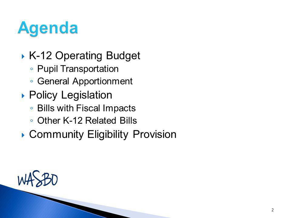  K-12 Operating Budget ◦ Pupil Transportation ◦ General Apportionment  Policy Legislation ◦ Bills with Fiscal Impacts ◦ Other K-12 Related Bills  C
