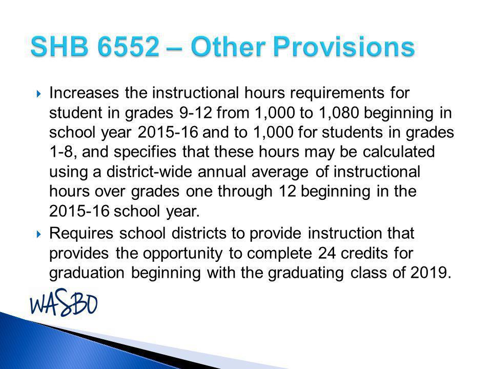  Increases the instructional hours requirements for student in grades 9-12 from 1,000 to 1,080 beginning in school year 2015-16 and to 1,000 for stud