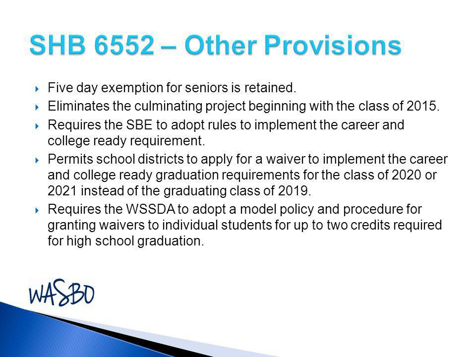  Five day exemption for seniors is retained.  Eliminates the culminating project beginning with the class of 2015.  Requires the SBE to adopt rules