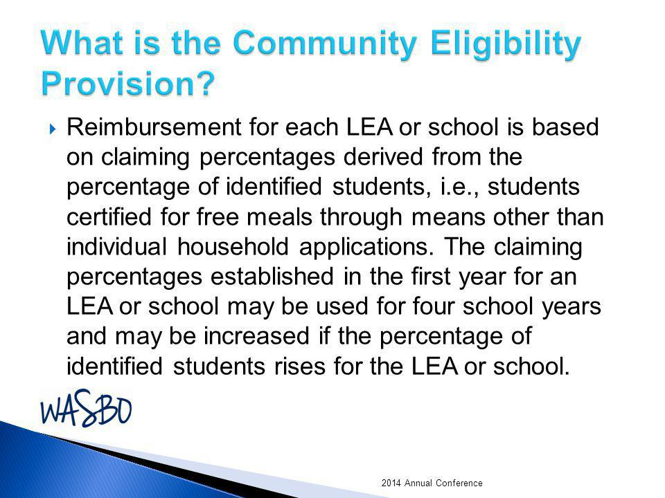  Reimbursement for each LEA or school is based on claiming percentages derived from the percentage of identified students, i.e., students certified f