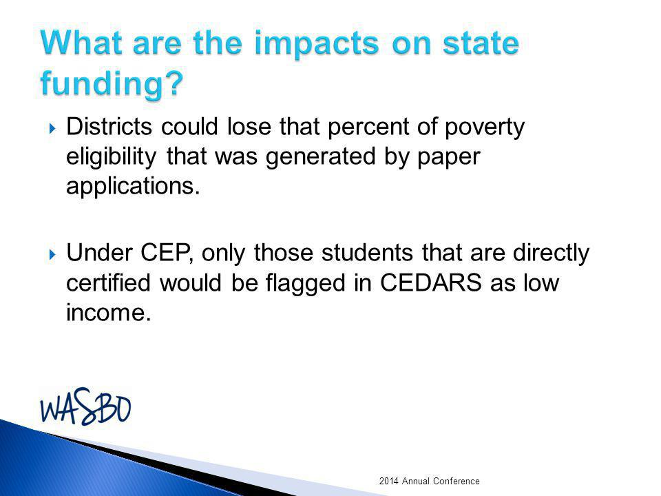 Districts could lose that percent of poverty eligibility that was generated by paper applications.  Under CEP, only those students that are directl