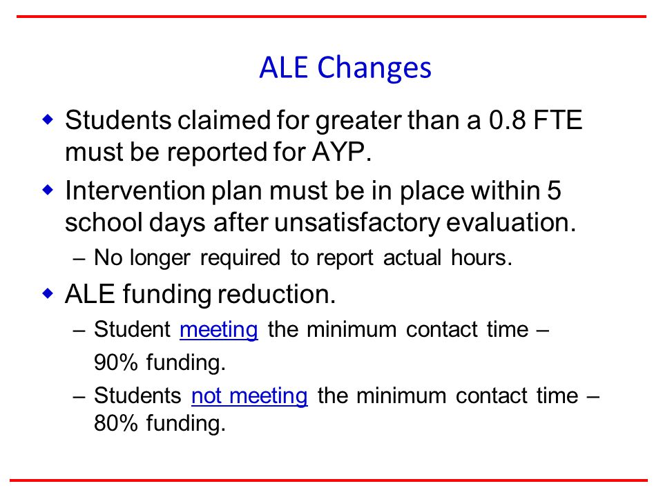 ALE Changes  Students claimed for greater than a 0.8 FTE must be reported for AYP.