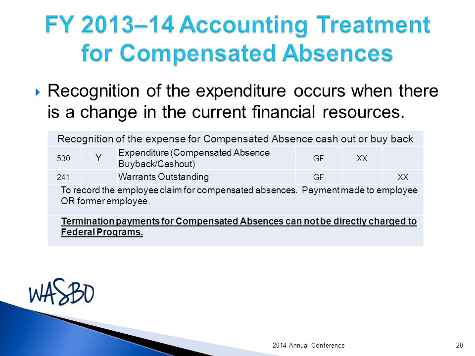 2014 Annual Conference  Recognition of the expenditure occurs when there is a change in the current financial resources.